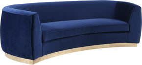 Meridian Furniture 620Navy-S Julian Navy Velvet Sofa 647899950285
