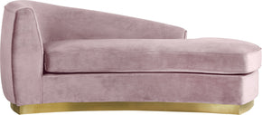 Chaise Lounges - Meridian 620Pink-Chaise Julian Curved Pink Velvet Chaise | 704831399707 | Only $1069.80. Buy today at http://www.contemporaryfurniturewarehouse.com