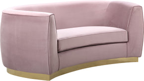Meridian Furniture 620Pink-L Julian Pink Velvet Loveseat 647899950322