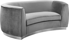 Meridian Furniture 621Grey-L Julian Grey Velvet Loveseat 647899950414