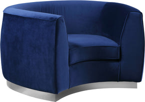 Armchairs - Meridian 621Navy-C Julian Curved Navy Velvet Chair | 647899950452 | Only $764.80. Buy today at http://www.contemporaryfurniturewarehouse.com