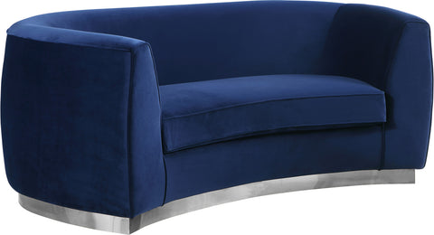Meridian Furniture 621Navy-L Julian Navy Velvet Loveseat 647899950445