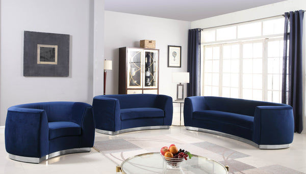 Julian Curved Navy Velvet Loveseat