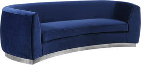 Meridian Furniture 621Navy-S Julian Navy Velvet Sofa 647899950438