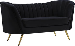 Meridian Furniture 622Black-L Margo Black Velvet Loveseat 647899947568