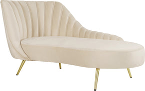Chaise Lounges - Meridian 622Cream-Chaise Margo Cream Velvet Chaise | 647899953750 | Only $1034.80. Buy today at http://www.contemporaryfurniturewarehouse.com