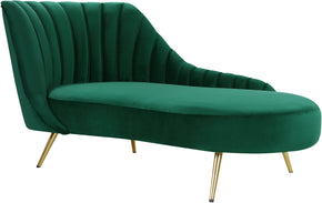 Meridian Furniture 622Green-Chaise Margo Green Velvet Chaise 647899953774