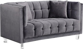 Meridian Furniture 629Grey-L Mariel Grey Velvet Loveseat 647899950650