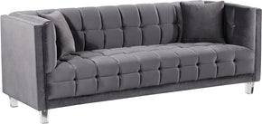 Meridian Furniture 629Grey-S Mariel Grey Velvet Sofa 647899950643