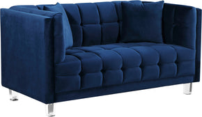 Meridian Furniture 629Navy-L Mariel Navy Velvet Loveseat 647899950568