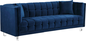 Meridian Furniture 629Navy-S Mariel Navy Velvet Sofa 647899950551
