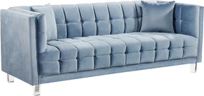Sofas - Meridian 629SkyBlu-S Mariel Sky Blue Velvet Sofa | 647899950582 | Only $1034.80. Buy today at http://www.contemporaryfurniturewarehouse.com