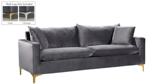 Meridian Furniture 633Grey-S Naomi Grey Velvet Sofa 647899951091