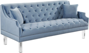 Meridian Furniture 635SkyBlu-S Roxy Sky Blue Velvet Sofa 647899951336