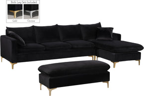 Meridian Furniture 636Black-Sectional Naomi Black Velvet 2pc. Reversible Sectional 647899951428