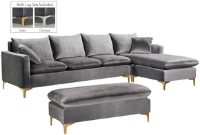 Meridian Furniture 636Grey-Sectional Naomi Grey Velvet 2pc. Reversible Sectional 647899951404