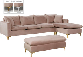 Meridian Furniture 636Pink-Sectional Naomi Pink Velvet 2pc. Reversible Sectional 647899951411