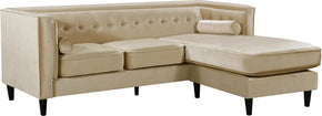 Meridian Furniture 643BE-Sectional Taylor Beige Velvet 2pc. Reversible Sectional 647899950544