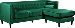 Meridian Furniture 643Green-Sectional Taylor Green Velvet 2pc. Reversible Sectional 647899950520
