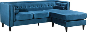Meridian Furniture 643LtBlu-Sectional Taylor Light Blue Velvet 2pc. Reversible Sectional 647899950537