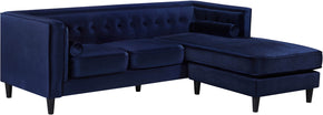 Meridian Furniture 643Navy-Sectional Taylor Navy Velvet 2pc. Reversible Sectional 647899950506