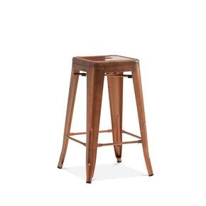 DesignLab MN LS-9102-COP Dreux Vintage Copper Steel Stackable Counter Stool 26 Inch (Set of 4) 655222619907