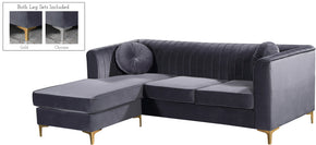Meridian Furniture 660Grey-Sectional Eliana Grey Velvet 2pc. Reversible Sectional 647899949159