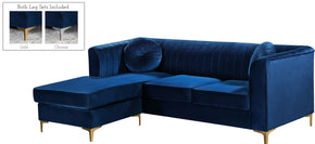 Meridian Furniture 660Navy-Sectional Eliana Grey Velvet 2pc. Reversible Sectional 647899949166