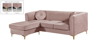 Meridian Furniture 660Pink-Sectional Eliana Grey Velvet 2pc. Reversible Sectional 647899949173