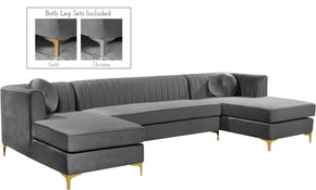 Meridian Furniture 661Grey-Sectional Graham Grey Velvet 3pc. Sectional 704831399981