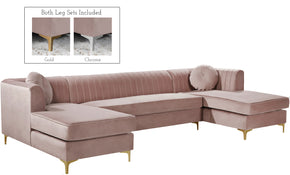 Meridian Furniture 661Pink-Sectional Graham Pink Velvet 3pc. Sectional 704831400007