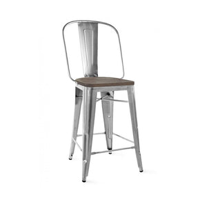DesignLab MN LS-9101-GUNW Dreux Gunmetal Elm Wood Steel Bar Chair 30 Inch (Set of 4) 646263991800