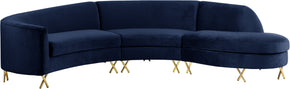 Meridian Furniture 671Navy-Sectional Serpentine Navy Velvet 3pc. Sectional 704831399882