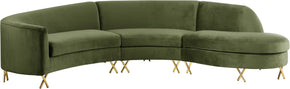 Meridian Furniture 671Olive-Sectional Serpentine Olive Velvet 3pc. Sectional 704831399899