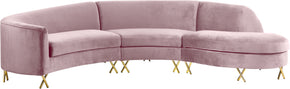 Meridian Furniture 671Pink-Sectional Serpentine Pink Velvet 3pc. Sectional 704831399868