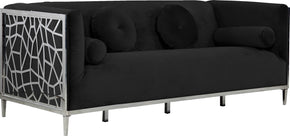 Meridian Furniture 672Black-S Opal Black Velvet Sofa 647899952623