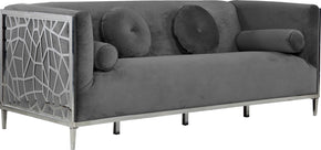 Meridian Furniture 672Grey-S Opal Grey Velvet Sofa 647899952593