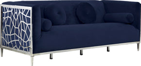 Meridian Furniture 672Navy-S Opal Navy Velvet Sofa 647899952562
