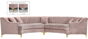 Meridian Furniture 673Pink-Sectional Jackson Pink Velvet 2pc. Sectional 704831399844