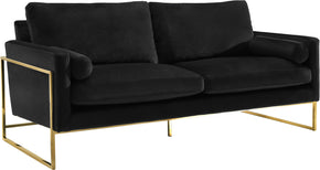 Meridian Furniture 678Black-S Mila Black Velvet Sofa 647899950025