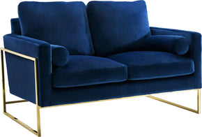 Meridian Furniture 678Navy-L Mila Navy Velvet Loveseat 647899950063