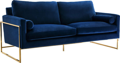 Meridian Furniture 678Navy-S Mila Navy Velvet Sofa 647899950056