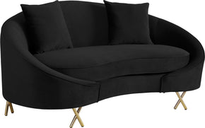 Meridian Furniture 679Black-L Serpentine Black Velvet Loveseat 704831400717