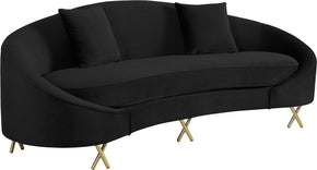Meridian Furniture 679Black-S Serpentine Black Velvet Sofa 704831400700