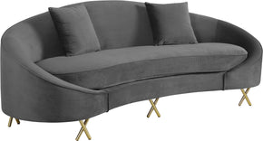 Meridian Furniture 679Grey-S Serpentine Grey Velvet Sofa 704831400670