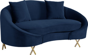 Meridian Furniture 679Navy-L Serpentine Navy Velvet Loveseat 704831400779