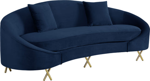 Meridian Furniture 679Navy-S Serpentine Navy Velvet Sofa 704831400762