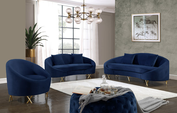 Serpentine Navy Velvet Sofa