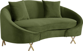 Meridian Furniture 679Olive-L Serpentine Olive Velvet Loveseat 704831400809