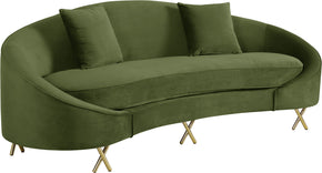 Meridian Furniture 679Olive-S Serpentine Olive Velvet Sofa 704831400793